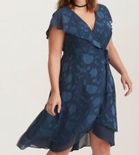 9342423049b15 Torrid Teal Floral Print Textured Chiffon Wrap Midi Dress Size 00