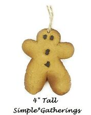 "Primitive Gingerbread Man Ornament - Christmas  Kitchen Decor Resin 4"" Tall"