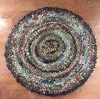 "Antique Colorful Handmade Folk Art Rag Rug Depression Era, 36"" Diameter"