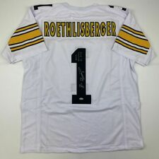 Autographed/Signed BEN ROETHLISBERGER Pittsburgh White Jersey Steiner COA Holo