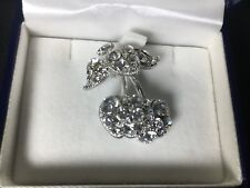 BNIB Silver Coloured Cubic Zirconia Cherry Brooch Pin