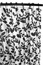 "70"" Elegant Dark Grey and White Vine Leaf Fabric Bath Shower Curtain w/ Grommets"