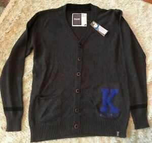 """New Bruzer Womans Charcoal Gray Cardigan Sweater Size Small Kansas College """"K"""""""
