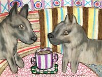 SWEDISH VALLHUND Drinking Coffee Original 9x12 Painting Dog Folk Art by KSams