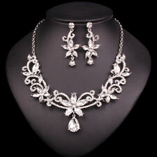 White Swarovski Elements Jewelry Set  Necklace/Earrings party wedding 2