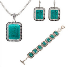 New Tibet silver Turquoise Pendant Necklace Chain Earrings bracelet Jewelry Set
