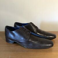 Sidewalk Mens Black Leather Oxford Lace Up Brogues Shoes Size 9 UK