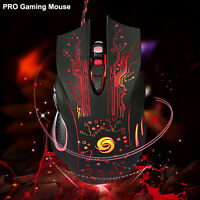 5500 DPI Optical USB Wired Gaming Mouse LED Mice 6 Button For PC Laptop NEW