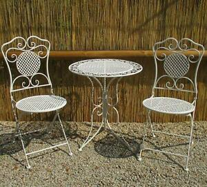 Gartenmöbel Bistroset Weiß Eisen 1 Tisch 2 Stühle Antikstil Balkon Sitzgruppe