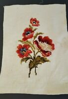 Vintage Crewel Embroidery Red Floral Handwork Beige BAckground Completed 4164