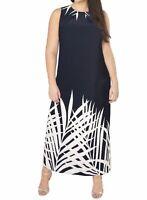 Ladies Women's Evans Black Sleeveless Palm Border Maxi Shift Dress 14-28 NEW