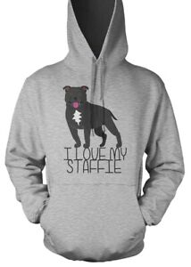Staffie  Hoodie Unisex & Kids I Love My Dog Staffy Lover Novelty Xmas Gift