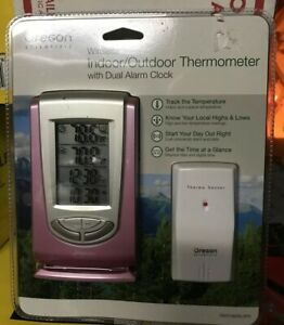 Oregon Scientific Indoor/Outdoor Thermometer Wireless Alarm Clock LED pink