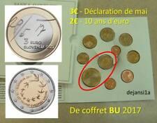 SLOVENIE 2 pièces 2017 Comm: 3€ DÉCLARATION de MAI + 2€ 10 ANS EURO - de COFFRET