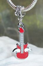 Guitar Red Winged Bass Flying Band Music Dangle Charm for European Bead Bracelet