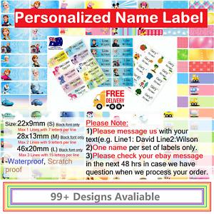 Personalised kids Name Label preschool go to school water proof sticker cartoon