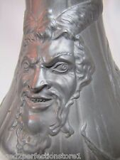 Antique 1800s HORNED DEVIL HEAD KAYSERZINN Large Pewter Pitcher ornate design