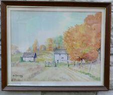 JAMES BELSHAW INDIANA ROCKVILLE INDIANA FARM WATERCOLOR SIGNED 1968