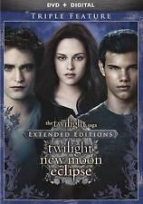 The Twilight Saga: Twilight/New Moon/Eclipse (DVD, 2015, 3-Disc Set, Extended...