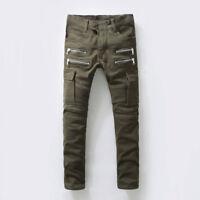HI-Q Classic Double-row Zippers Thigh Vogue Pockets Design Men Moto Biker Jeans
