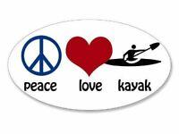 "OVAL Peace Love Kayak Sticker (kayaking paddle kayaker) 1.5""x 2.5"""