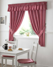 GINGHAM CHECK KITCHEN CURTAIN ~ FREE Tiebacks ~ Many Colours & Sizes