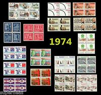 1974 Complete Year Set / Canada postage stamps (70) MNH  - Deluxe block set