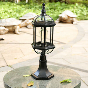 Nordic Style Black Metal Lantern Glass Outdoor Waterproof Pillar Light Post Lamp