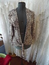 CHICO'S SWEATER WRAP SEXY ANIMAL PRINT SZ 2 (large) BROWN & WHITE MINT CONDITION