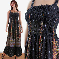 Plus Size Black Peacock Print Tropical Casual Summer Maxi Dress One Size S-2XL