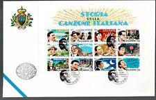 San Marino 1996 FDC UFFICIO FILATELICO Foglietto Storia Canzone italiana 12 VAL.