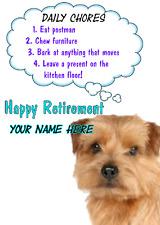 Norfolk Terrier Dog Happy Retirement Rules card A5 Personalised Greetings