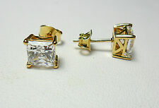 925 St silver studs gold/plt'd, made with Swarovski crystals 6mm sq.