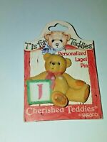 Cherished Teddies Personalized Lapel Pin Letter J Bear 1996 Enesco 203297J NOS