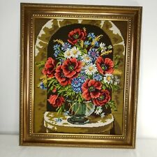 Vintage 1980s Cross Stitch Finished Framed Poppies Daisies Flowers Vase