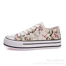 New Womens Low Top Muffled Canvas Shoes Lace Up Candy Color Printed Flower Shoes