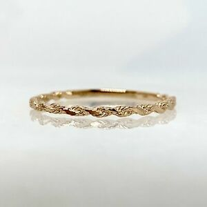 14K Rose Gold Twisted Rope Stackable Band Stack Ring sz.6 .68g 14kt