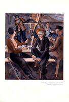 Abend in der Skihütte XL Kunstdruck 1931 von Hans Koyemann Berghütte Ski fahren