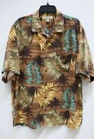 Tommy Bahama men's L button up short sleeve Hawaiian shirt palm tree floral silk