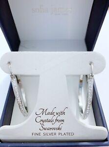 Silver  Plated Crystal Hoop Tone Earrings