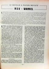 1960 NSU DESCRIPTION DU MOTEUR ROTATIF WANKEL DE 10 PAGES REVUE TECHNIQUE RTA