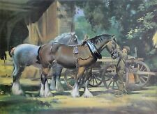 FRANK WOOTTON (1911-1998) graphique coloré main-signé: Start of a New Day/chevaux