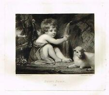 "Mezzotint Eng. Proof - ""SAINT JOHN"" - by Sir Joshua Reynolds - c1820"