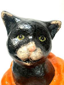 """Enesco Paper Mache Black Cat In Pumpkin Halloween Collectible 12"""" Tall"""