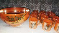 Vintage 1950s FIREKING Anchor Glass Lusterwear Egg Nog Bowl Cups Mugs MCM