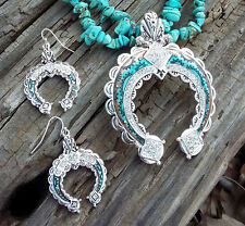 Southwestern Tribal Navajo Gypsy Aztec Silver Turquoise Squash Blossom Necklace