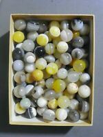 Agate Marbles 6 Pieces 5/8 to 3/4 Inch Mostly Banded Mix Colors Vintage Gemstone