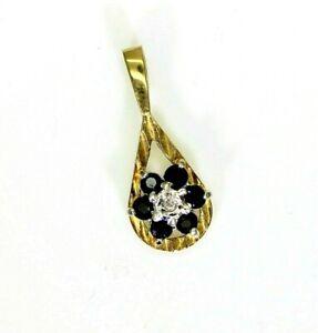 Vintage 9ct 9k Gold Sapphire Diamond Pendant