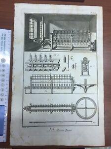 1765 Encyclopedie Diderot D'Alambert Stampa Piena Pag. Fil Moulin Quarrè Origin.