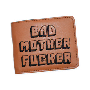 Brown Bad Mother F***er Pulp Fiction Leather Slim Wallet Card Holder Gift